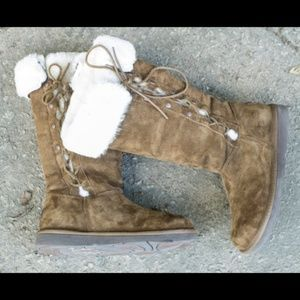 ugg Shoes - UGG Suede Boots with Sheepskin Faux Fur Ladies
